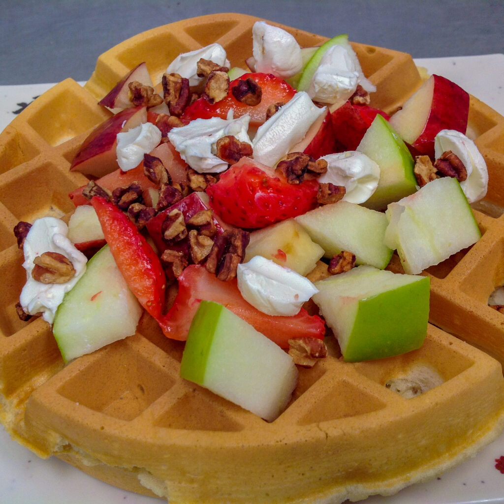Seasonal Fruit Waffles with Candied Pecans and Cream Cheese