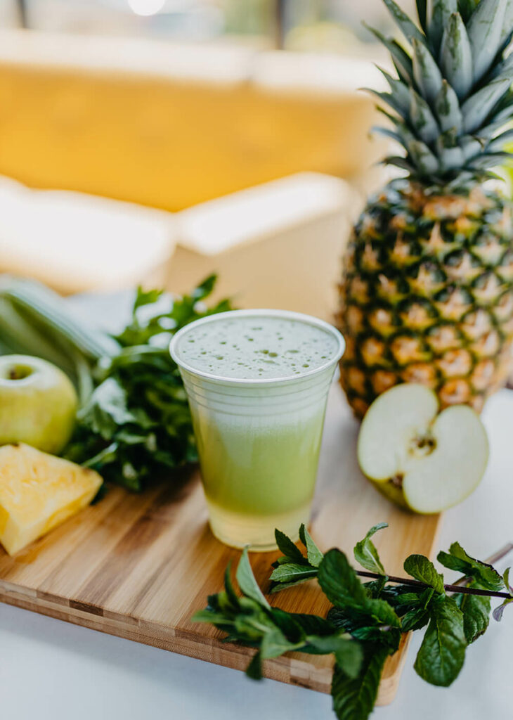 Fresh Tropical Rain Juice - Pineapple, Tart Granny Smith Apple and Celery Pressed with Fresh Mint